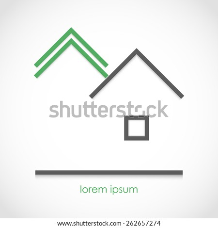 Vector illustration of a minimalistic forest and house - stock vector