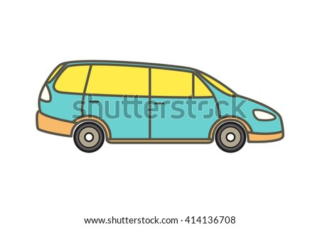 Vector illustration of a minivan, family car. Original design, no brand.  - stock vector