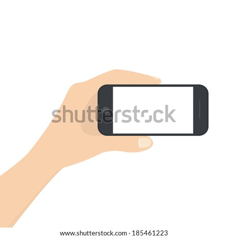 vector illustration of a modern phone holding in hands on a white background