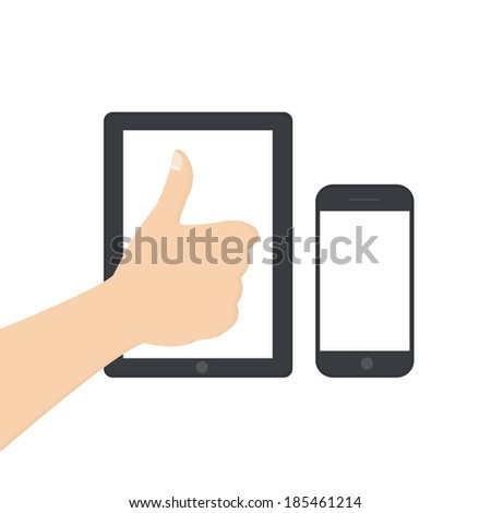 vector illustration of a modern tablet and hand telephone - stock vector