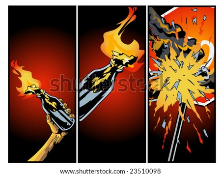 vector illustration of a Molotov cocktail being thrown at a stop sign... some clipping masks used, as well as envelope in 2nd panel - stock vector