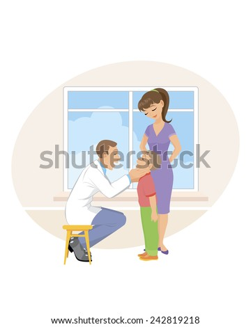 Vector illustration of a mom and son in doctor's office - stock vector