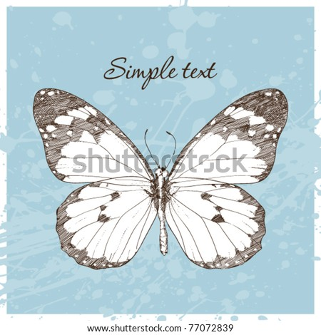 Vector illustration of a monarch butterfly and blot in a writing-book. Vector illustrator. Hand-draw. - stock vector
