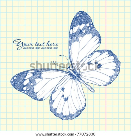 Vector illustration of a monarch butterfly in a writing-book. Vector illustrator. Hand-draw. - stock vector