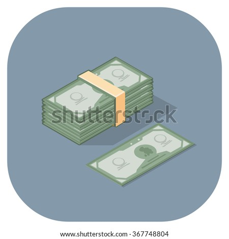 Vector illustration of a money icon. Isometric Cash in a stack with single bill. Paper money concept. - stock vector