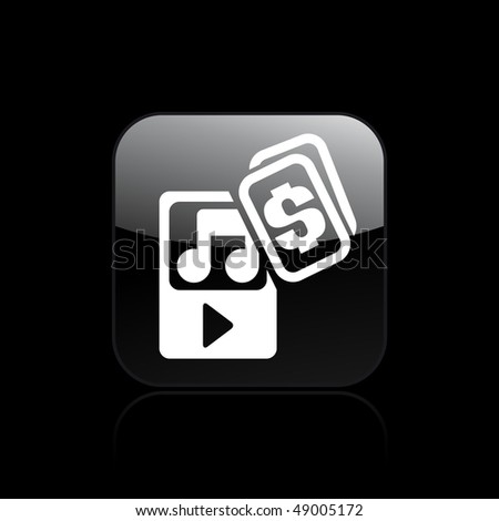 "Vector illustration of a ""money"", ""pay"" or ""buy"" icon in modern style depicting a music player"