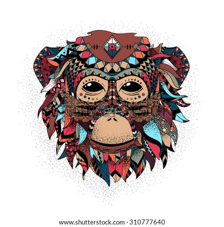 Vector illustration of a monkey, a symbol of New Year 2016. Vector head of an animal, with ethnic motifs. Sketch of tattoo print on a T-shirt or a greeting card. - stock vector