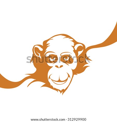 Vector illustration of a monkey. On New Year's Eve - stock vector