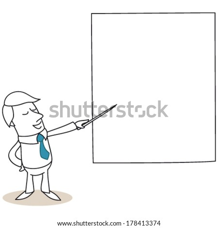 Vector illustration of a monochrome cartoon character: Businessman talking and pointing at big screen with a stick. - stock vector