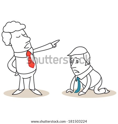 Vector illustration of a monochrome cartoon character: Desperate businessman on his knees getting fired by his boss. - stock vector