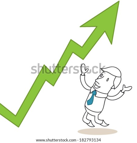 Vector illustration of a monochrome cartoon character: Happy businessman celebrating growing graph. - stock vector