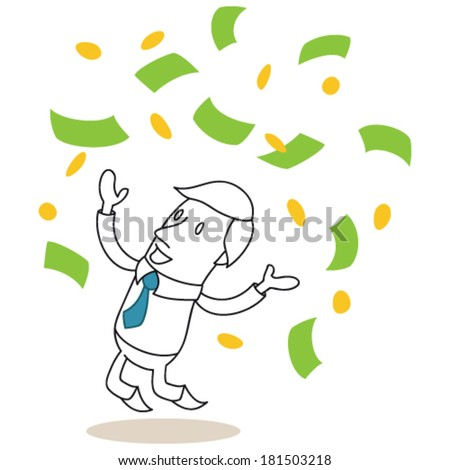 Vector illustration of a monochrome cartoon character: Happy businessman jumping and throwing bank notes and coins up - stock vector
