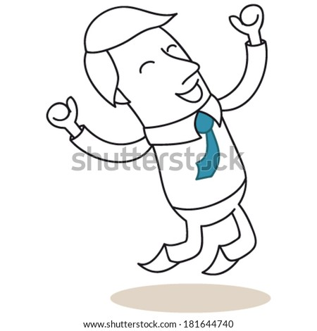Vector illustration of a monochrome cartoon character: Happy businessman jumping with his fists up in the air. - stock vector