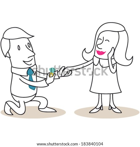 Vector illustration of a monochrome cartoon character: Man proposing with diamond ring to flattered woman. - stock vector