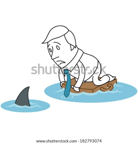 Vector illustration of a monochrome cartoon character: Scared businessman floating on briefcase in ocean with shark. - stock vector