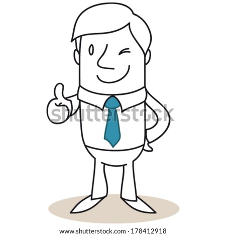 Vector illustration of a monochrome cartoon character: Winking businessman giving the thumbs up. - stock vector