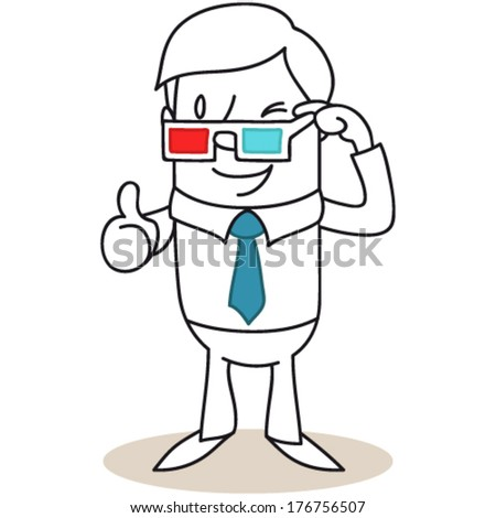 Vector illustration of a monochrome cartoon character: Winking man pulling down his 3D glasses giving thumbs up (JPEG version also available).
