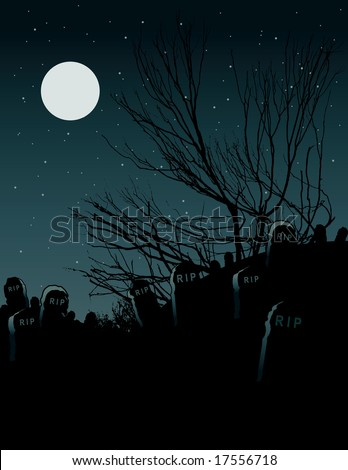 Vector illustration of a moon lit cemetery.
