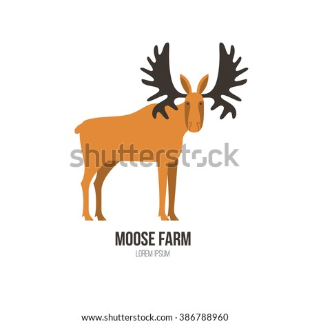 Vector illustration of a moose made in modern flat style. Graphical animal collection. Logo or label for your company isolated on background. - stock vector