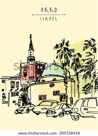 Vector illustration of a mosque, palm trees and cars in Akko, Israel. Grungy black ink marker drawing. Vertical postcard greeting card template. Travel sketch with space for text. Hand lettered title