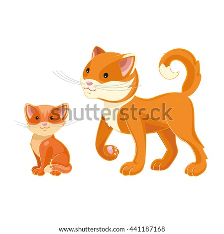 vector illustration of a mother cat and kitten