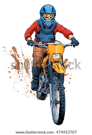 Vector illustration of a motorcyclist riding a dirt bike