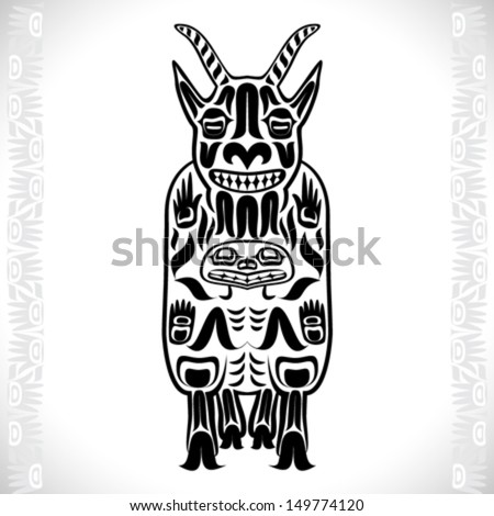 Vector illustration of a mountain goat, one of Canadian animals. Modern stylization of North American native art in black and white color - stock vector