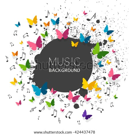 Vector Illustration of a Music Background with Music Notes and Colorful Paper Butterflies - stock vector