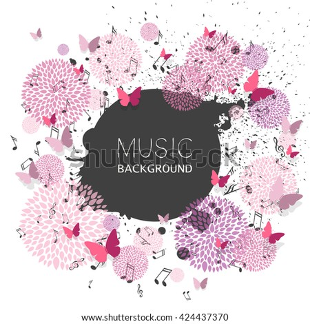 Vector Illustration of a Music Background with Music Notes and Paper Butterflies - stock vector