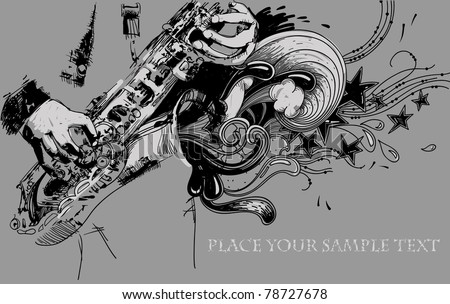 vector illustration of a musician with a saxophone and an abstract sound - stock vector