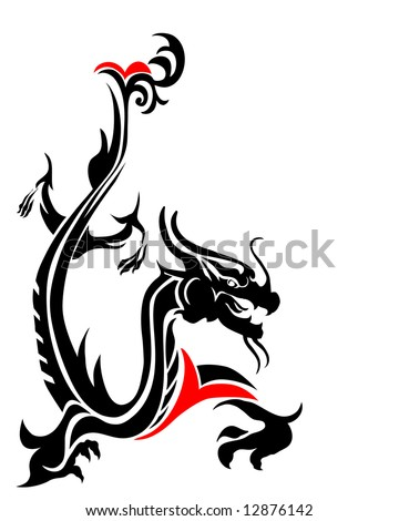vector illustration of a mythical dragon