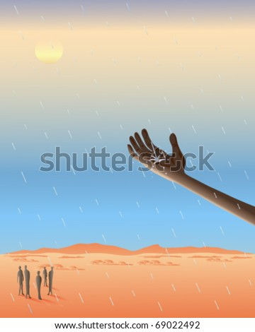 vector illustration of a native africans outstretched hand catching raindrops as they fall on the arid desert in eps 10 format