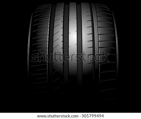 Vector illustration of a new auto tire on black - stock vector