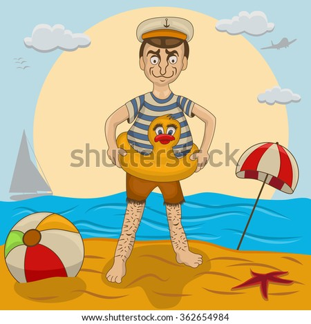 Vector illustration of a new swimmer on a beach, ready for his swimming lessons. - stock vector