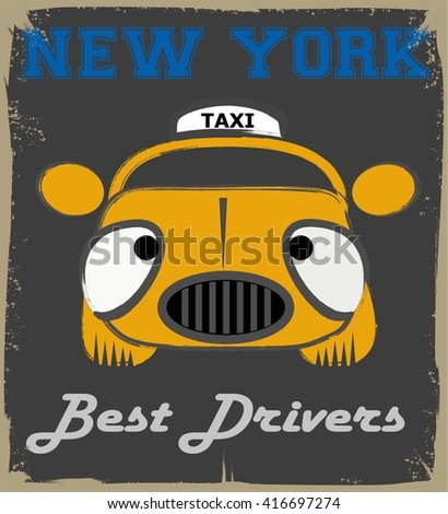 vector illustration of a new york cab