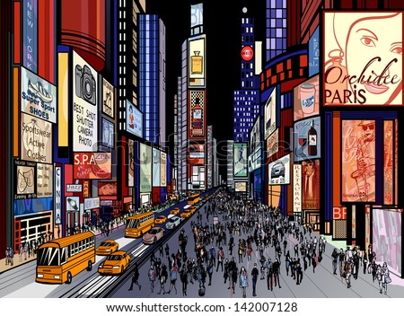 Vector illustration of a night view of times square in New York (all ads are imaginary)