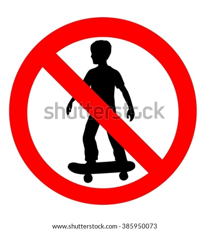 vector illustration of a no skateboarding allowed sign using a silhouette traced from a digitally rendered illustration of a boy on a skateboard