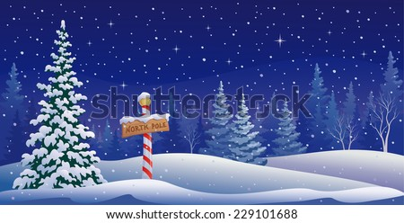 Vector illustration of a North Pole sign in the woods - stock vector