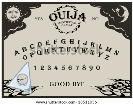 vector illustration of a Ouija board... planchette can be moved around - stock vector