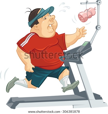 vector illustration of a overweight man jogging on a treadmill - stock vector