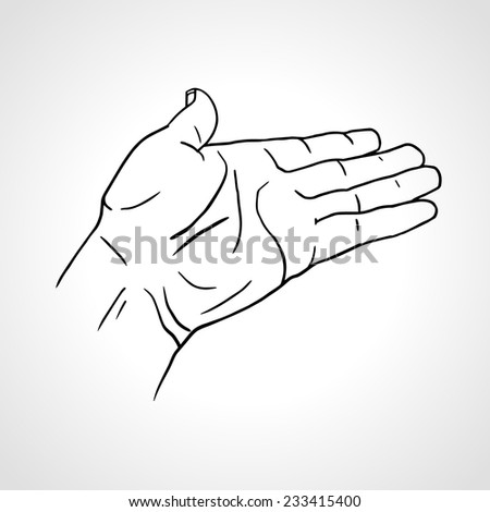 Vector illustration of a palm up outreaching hand gesture, isolated on white background, open hand