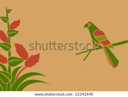 Vector Illustration of a parrot on a branch - stock vector