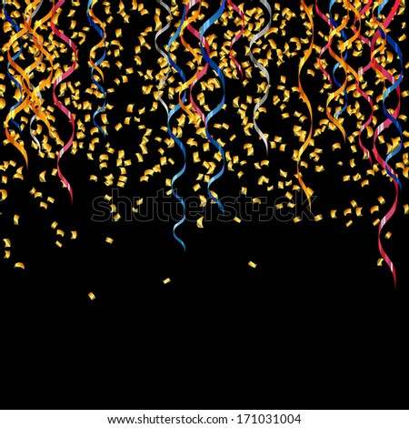 Vector Illustration of a Party Background with Golden Confetti and Curly Ribbons
