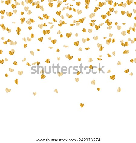 Vector Illustration of a Party Background with Golden Heart Confetti