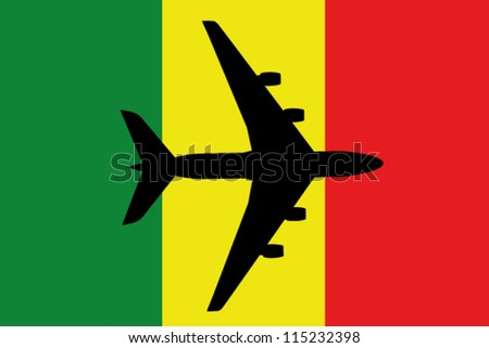 Vector Illustration of a passenger plane flying over the flag of Mali - stock vector