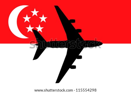 Vector Illustration of a passenger plane flying over the flag of Singapore