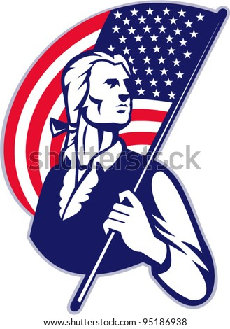vector Illustration of a patriot minuteman revolutionary soldier holding an American stars and stripes flag on isolated background.