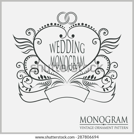 Vector illustration of a pattern monogram. Wedding monogram. - stock vector