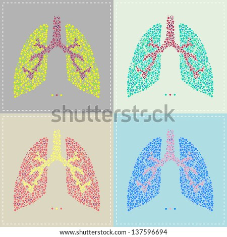 Vector illustration of a pattern of Lung in various colors - stock vector