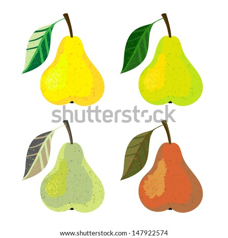 Vector illustration of a pear fruits. The drawing imitates dry brush watercolor technique. Set of four images for any package design like juice boxes, yogurt, dry fruit mix, jelly, candies, jam - stock vector